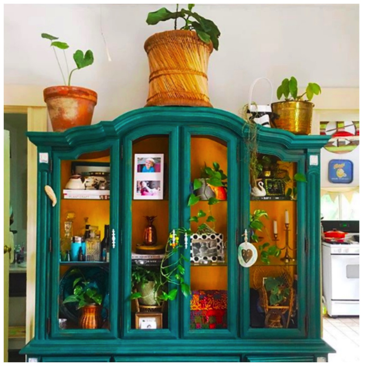Teal colored boho cabinet Augusta Isabelle Wheeler thrifty hippie