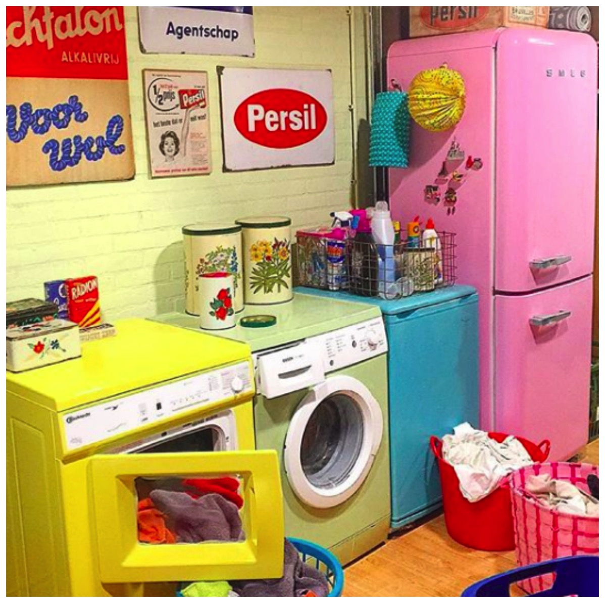 Colorful retro laundry room red cherry rockers