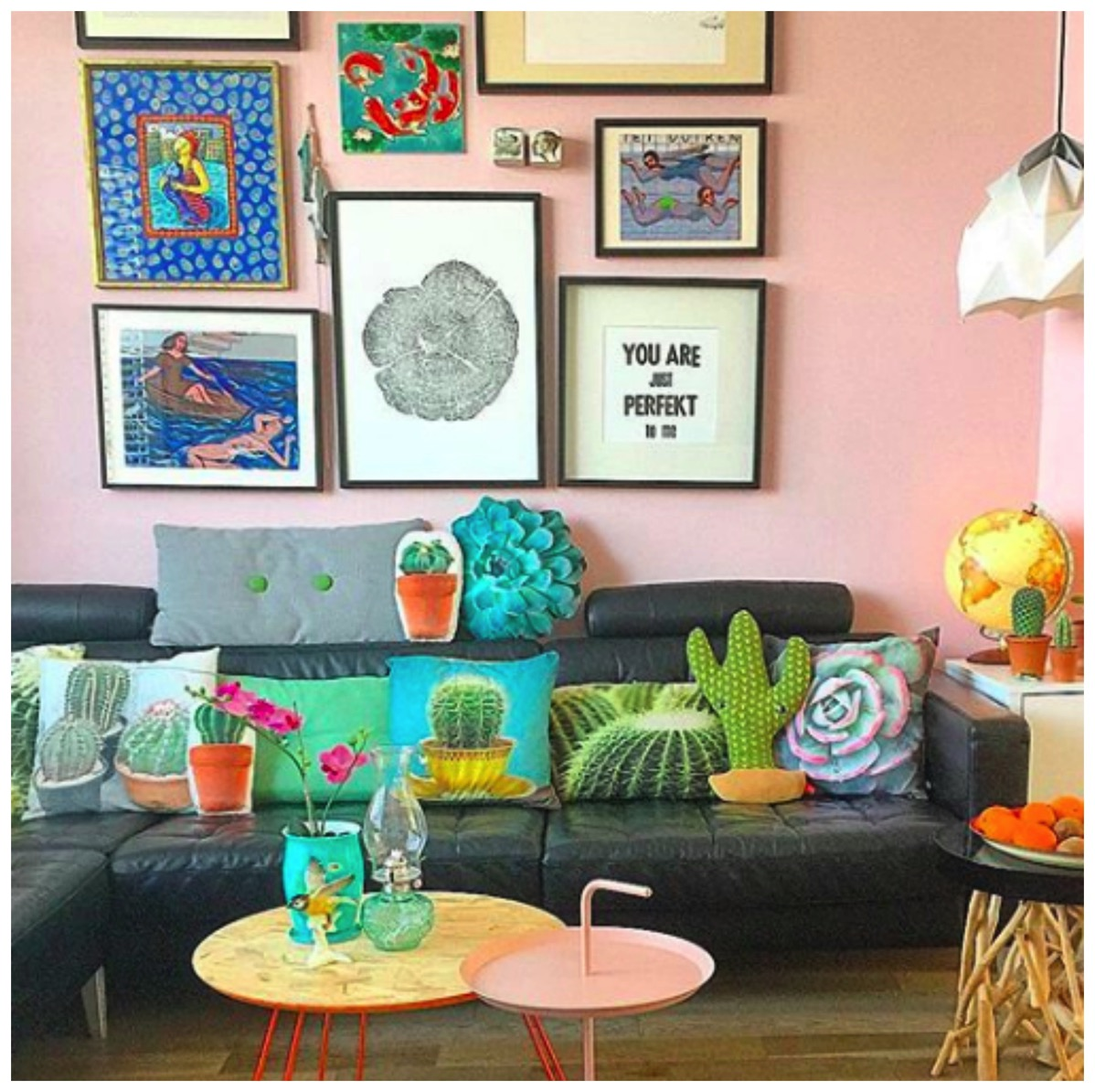 Red cherry rockers colorful gallery wall livingroom