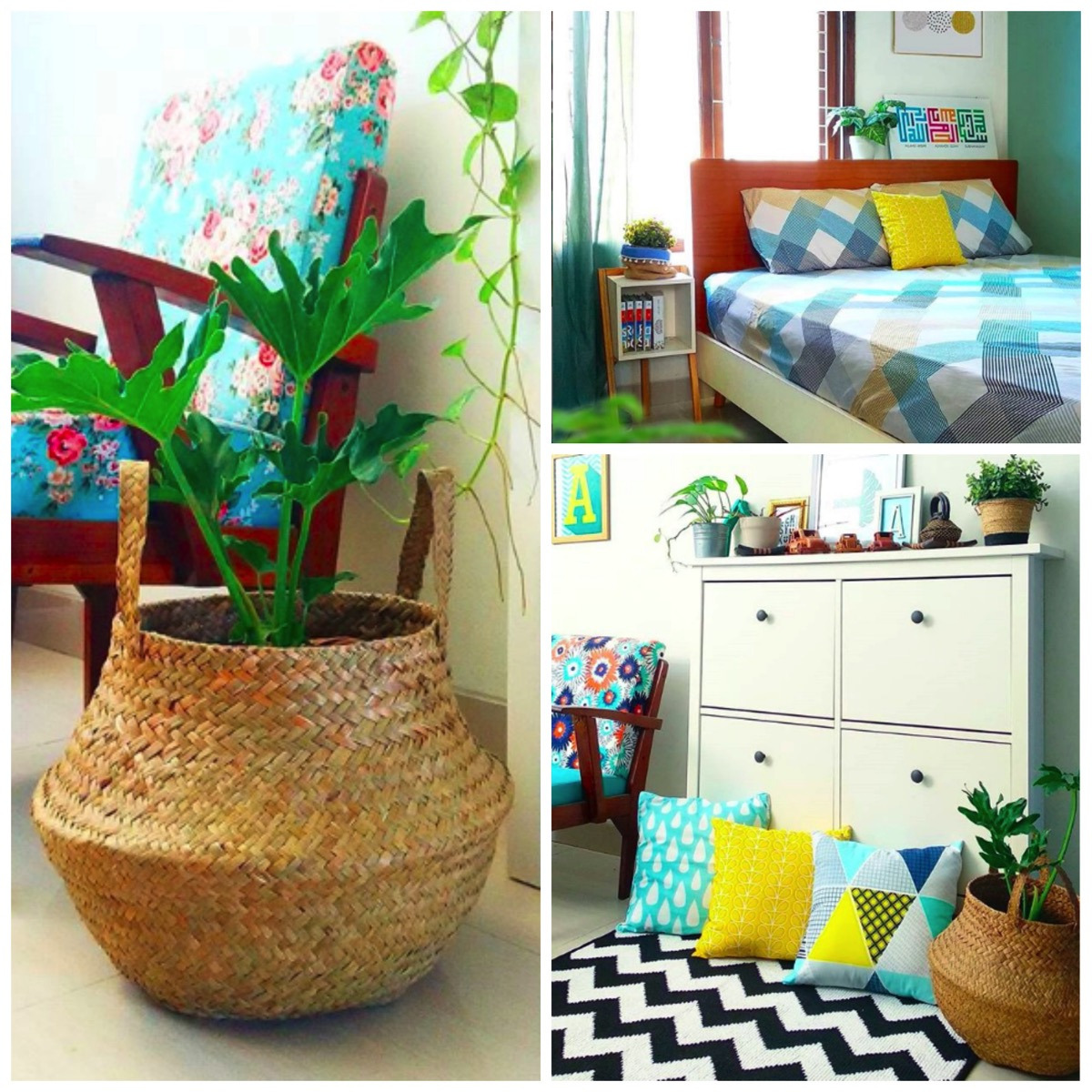 Colorful home with patterns and textures home with plants dig and hang