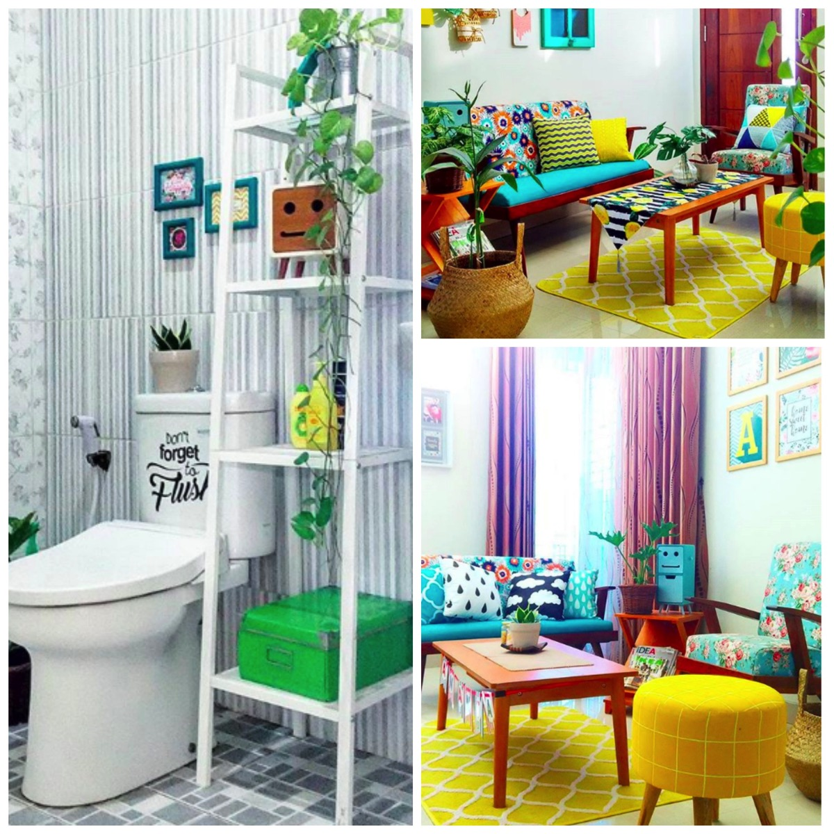 Colorful yellow and blue home decor ideas home tour dig and hang