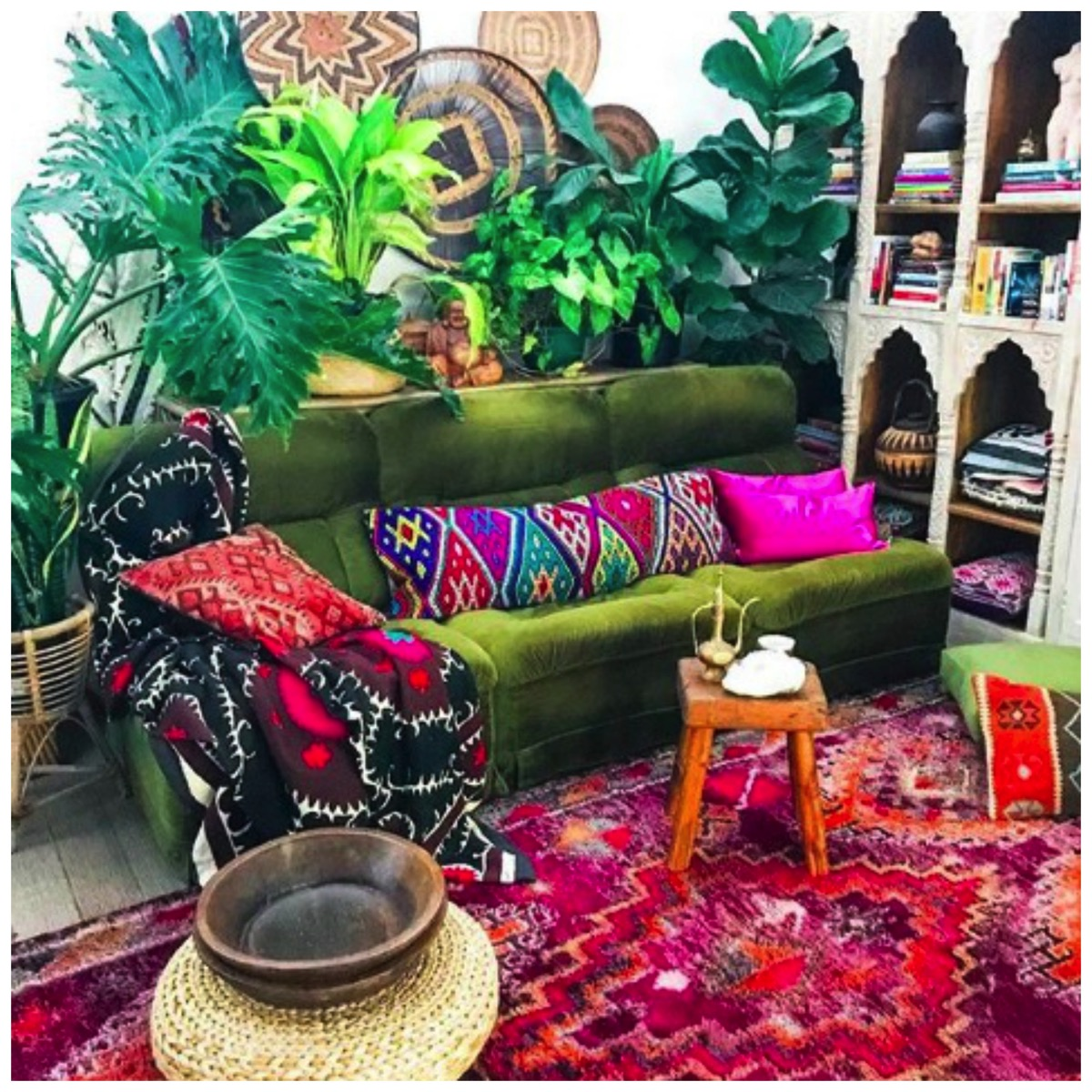 Boho inspired colorful living room and home