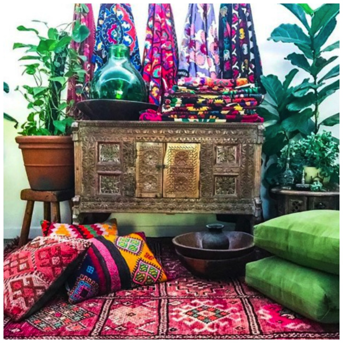 Colorful boho fabric in home
