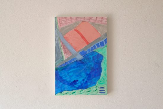 Sutro Baths Old & New, oil paint, vinyl transparency gels on canvas, 12″x18″ 2019