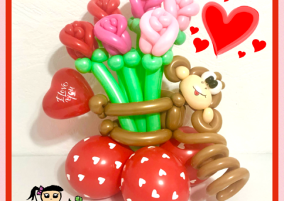 Monkey with Roses Valentines Balloon Centerpiece