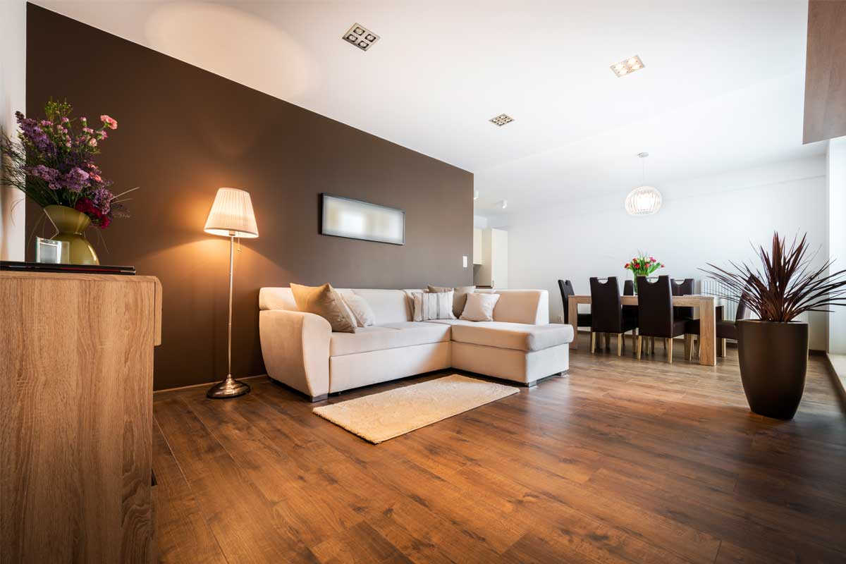 Residential home living room & dining room interior painted vibrant brown and white
