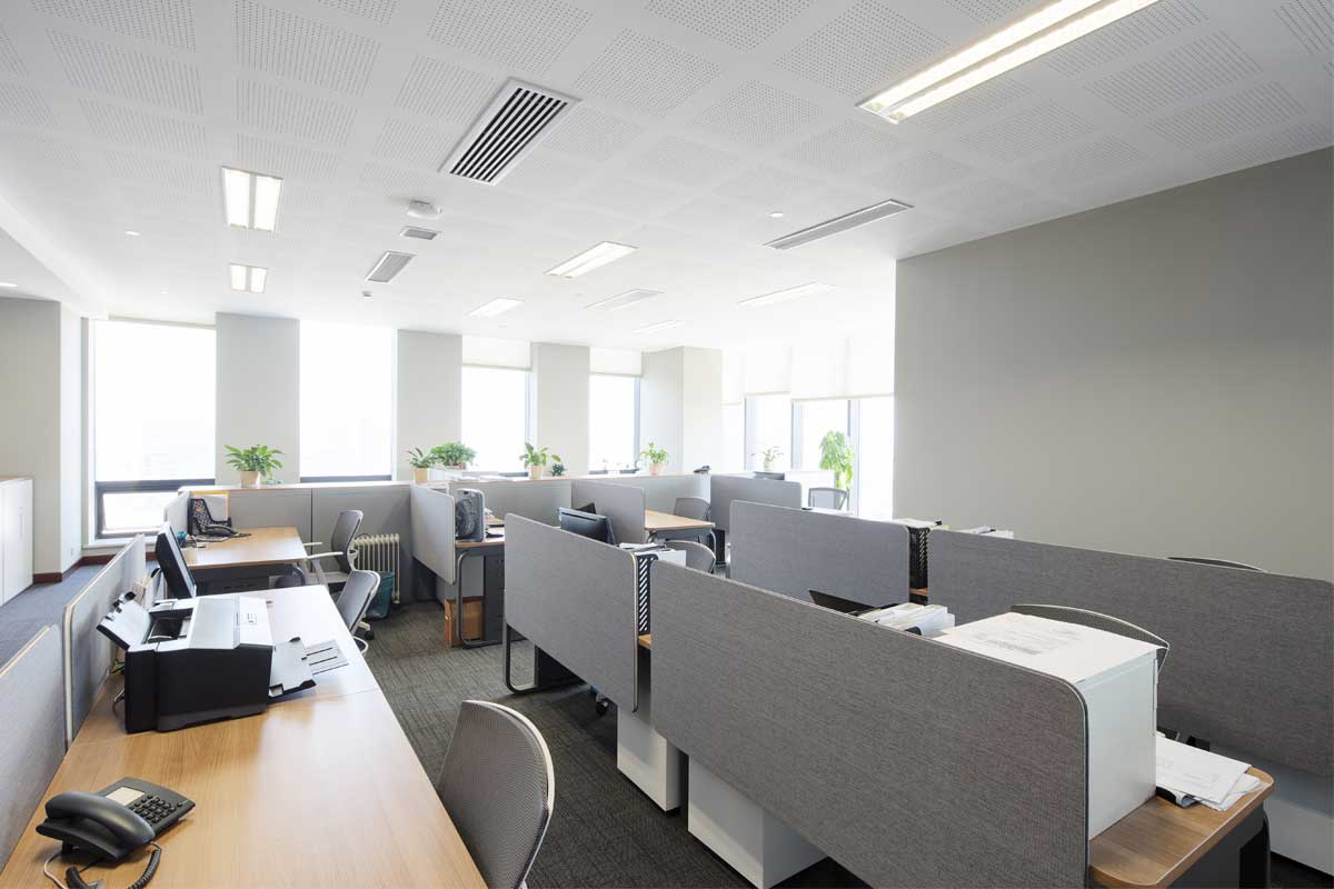 Commercial business office interior painted gray, silver, and white