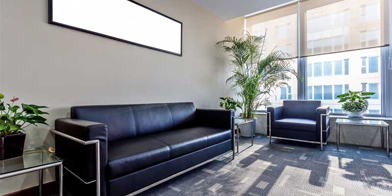 Interior Commercial Painting - Office lobby interior painted silver & grey