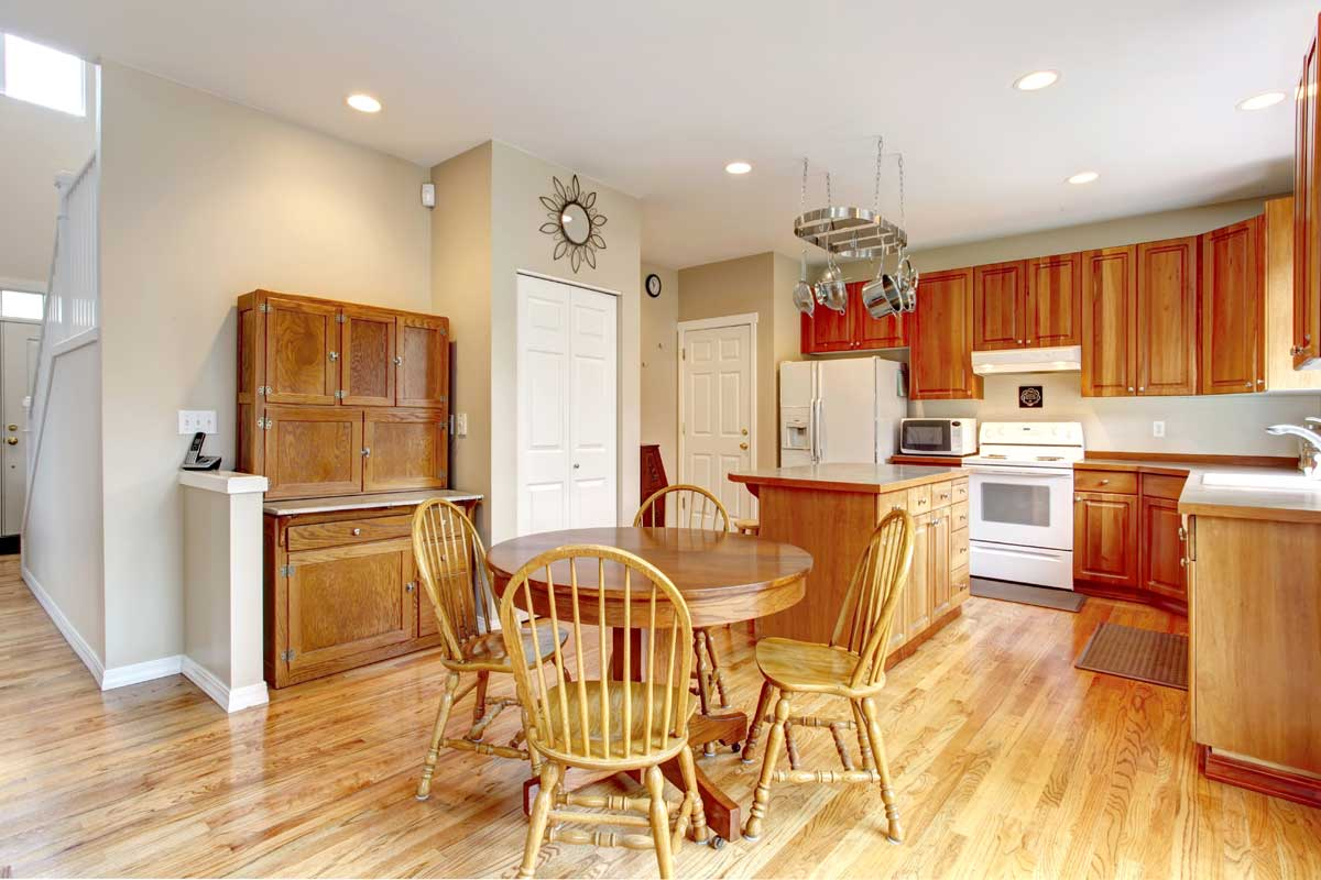 Residential home kitchen interior painted white & gray