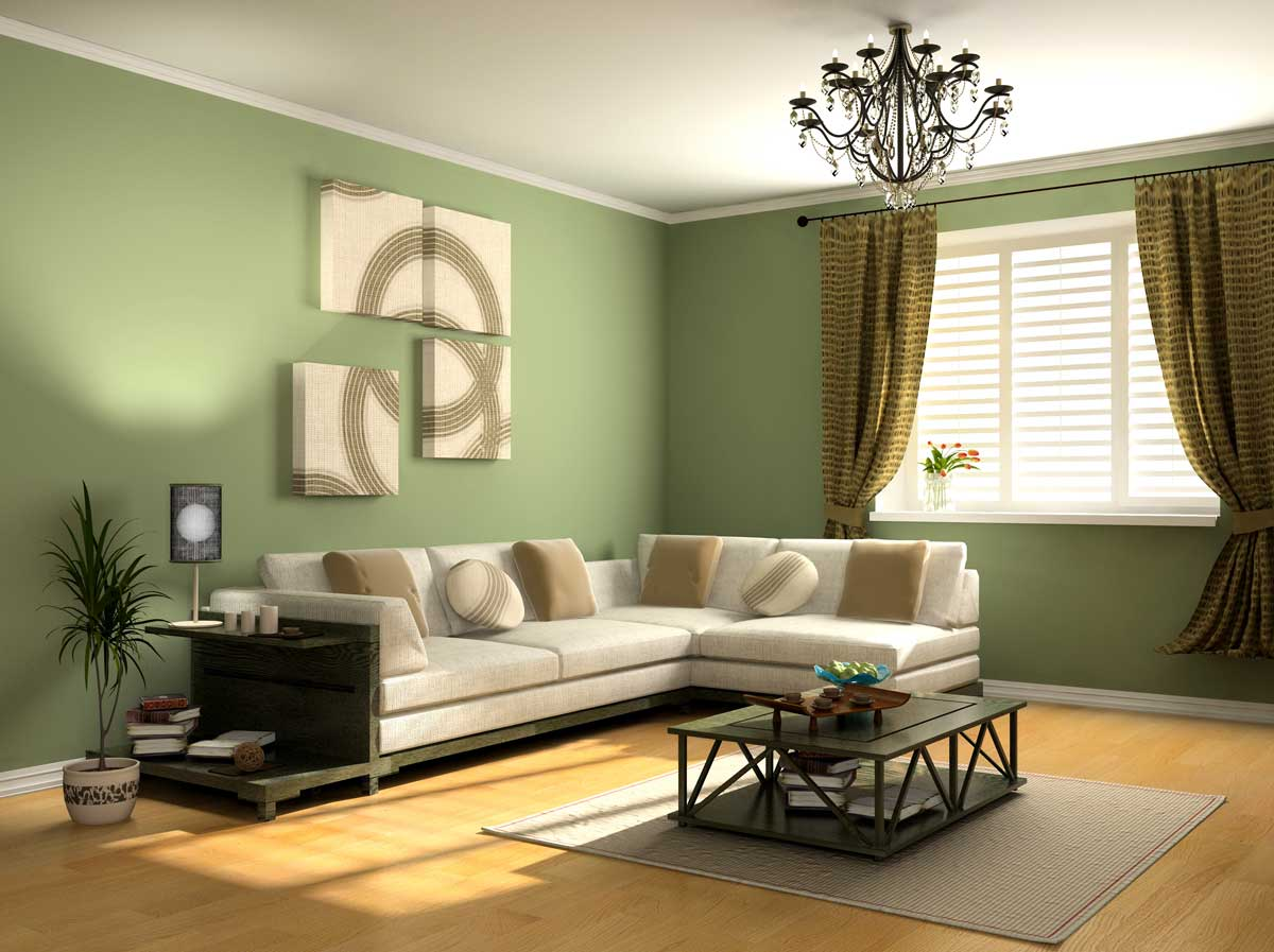 Residential home living room interior painted avocado green and white