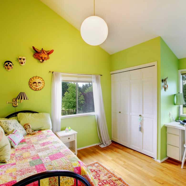 Residential and Commercial Painting - Home bedroom interior painted lime green & white