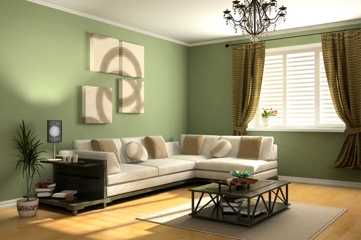 Residential home living room painted avocado green and white