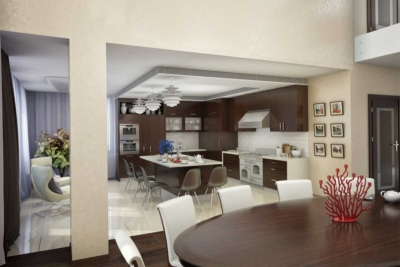 Residential home kitchen interior painted a modern white & brown