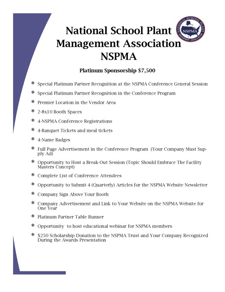 NSPMA Sponsorhsip Information for Conference 2020