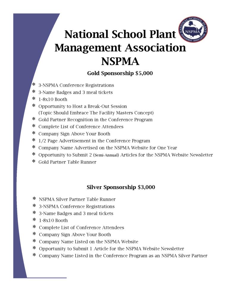 NSPMA Sponsorship Information for Conference 2020