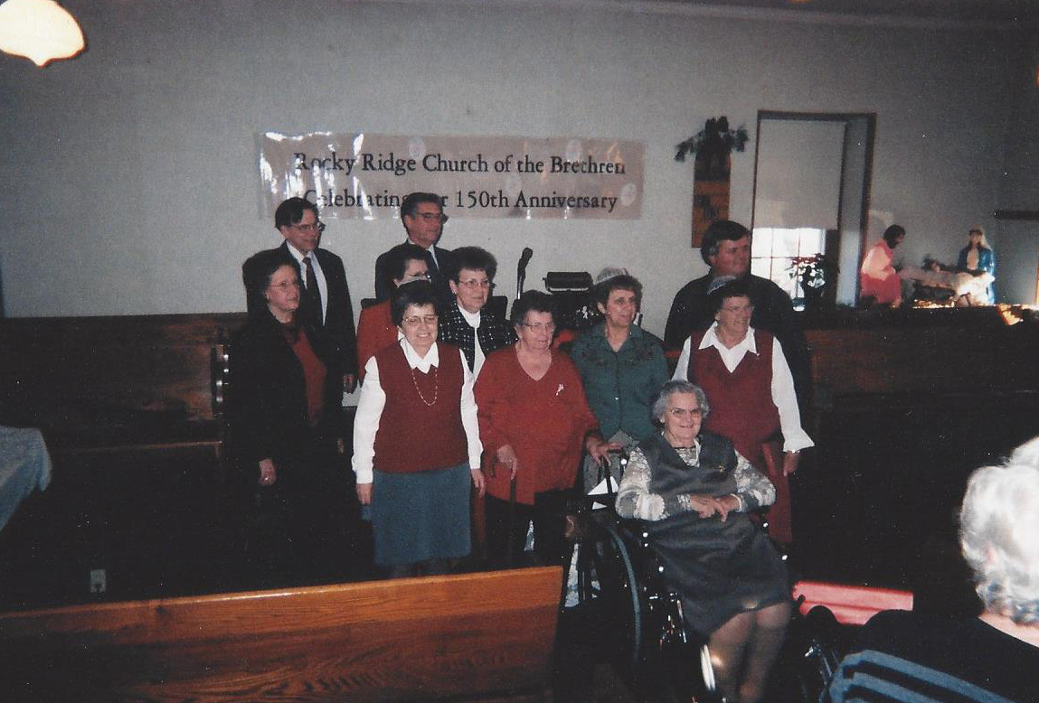 150th Anniversary - Pictured are Erma Black, Maxine Troxell, Olive Duble, Joyce Bohn, Pauline Duble, Phyllis Rice, Lois Duble, Irene Miller, Wayne Hooper, Ernest Rice, Gerald Duble