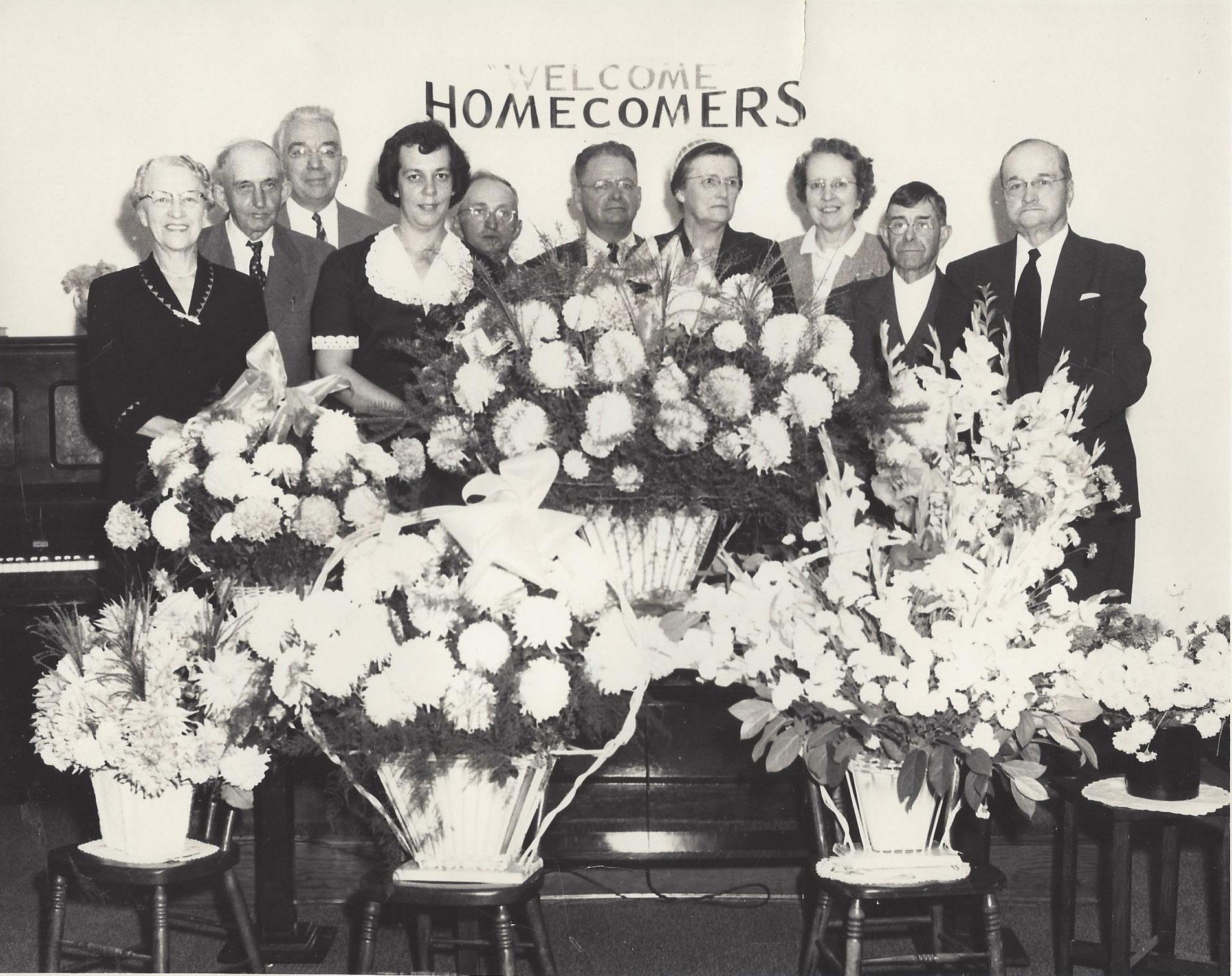 Pictured from left to right are: Rhoda Schildt Green, John Fogle, D.S. Weybright, Martha Fogle Dayhoff, Steiner Whitmore, James Renner, Denda Renner, Ruth Weybright Stauffer, Clarence Putnam, Sam Weybright