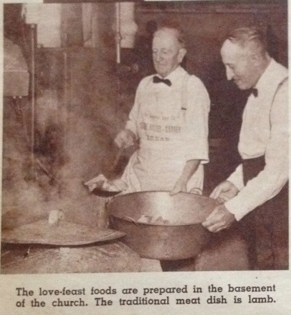 Fixing the Lovefeast meal - Back then they used lamb(mutton)