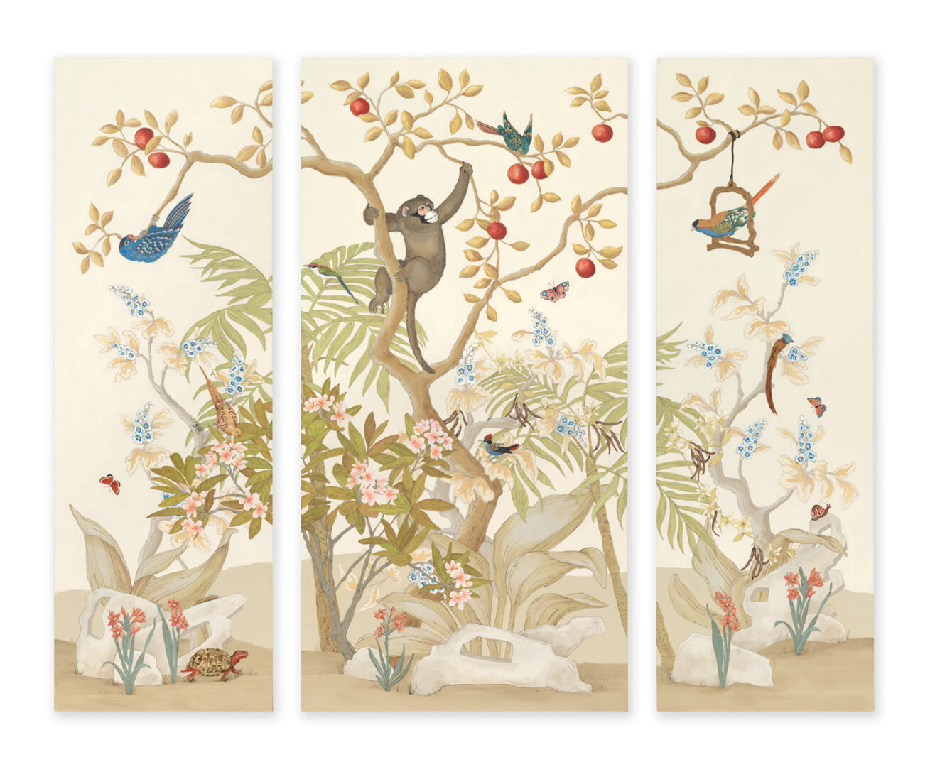 A Cosmos Monkey Chinoiserie Triptych-2017-09-0710692-Flat-10
