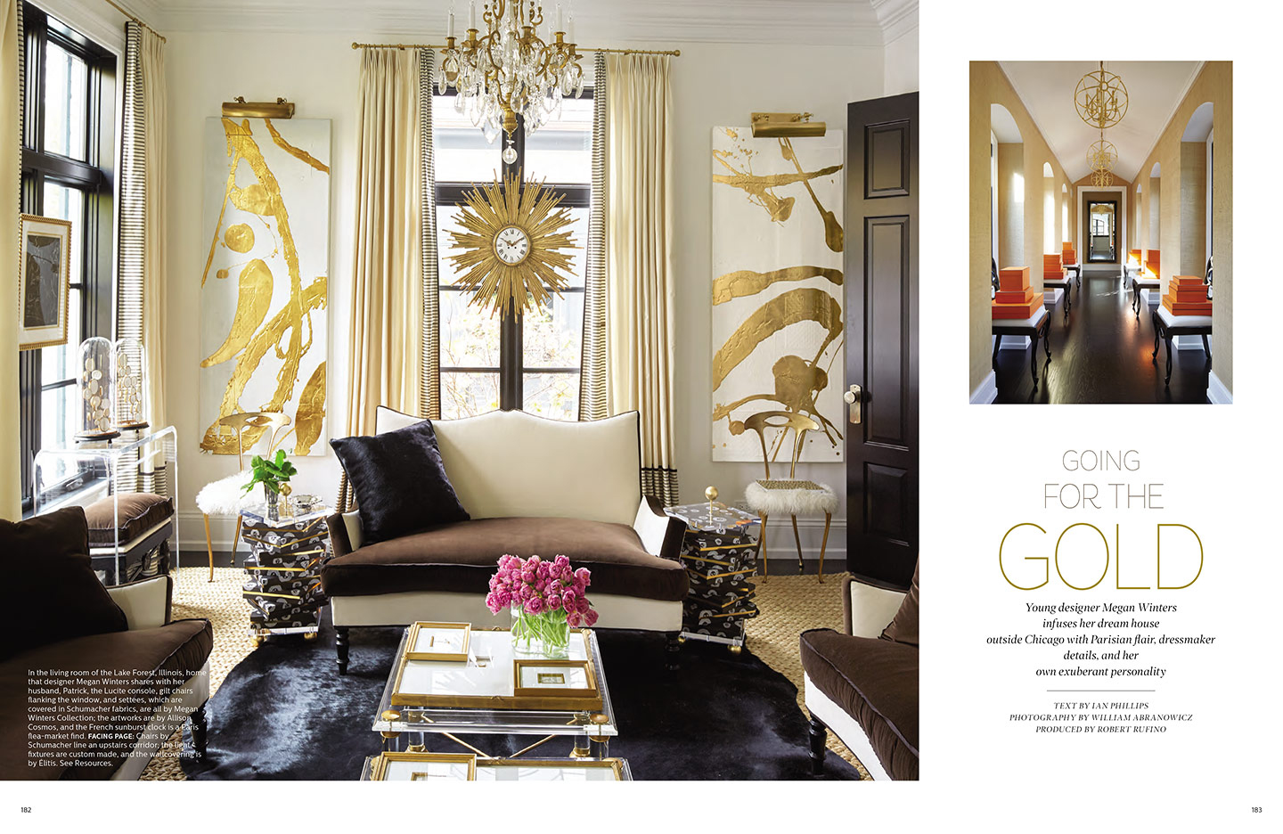 Elle Decor Gold and White abstract paintings by Allison Cosmos for Megan Winters