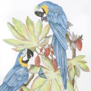 """""""Forever-and-a-Day""""-Chinoiserie-macaw-painting-parrot-by-Allison-Cosmos"""