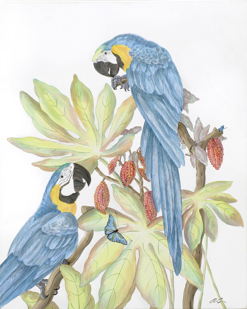 """Forever-and-a-Day""-Chinoiserie-macaw-painting-parrot-by-Allison-Cosmos"
