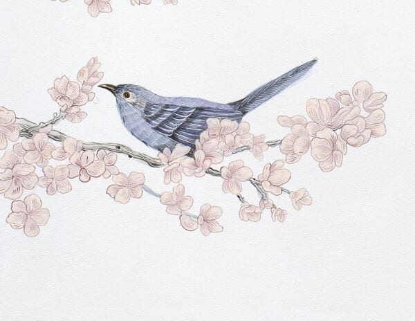 """""""Social-Nest-Working""""-chinoiserie-cherry-blossom-bluebird-by-Allison-Cosmos"""