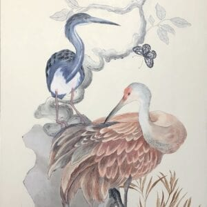 """""""Long-Time-No-Sea""""-Chinoiserie-Painting-of-Coastal-Birds-by-Allison-Cosmos"""