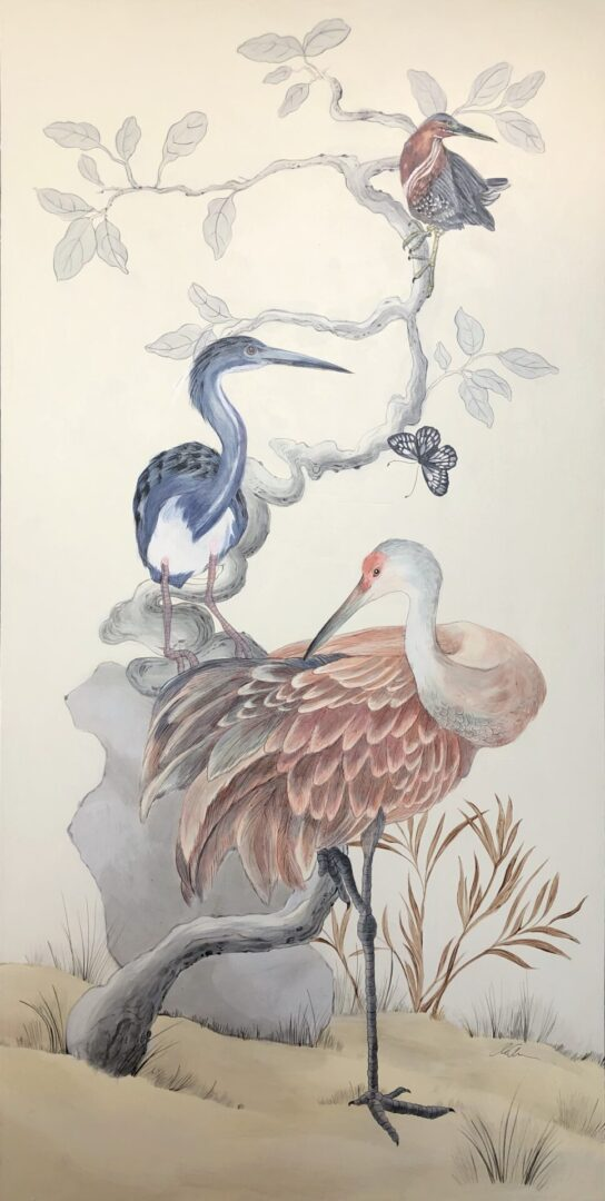 """Long-Time-No-Sea""-Chinoiserie-Painting-of-Coastal-Birds-by-Allison-Cosmos"