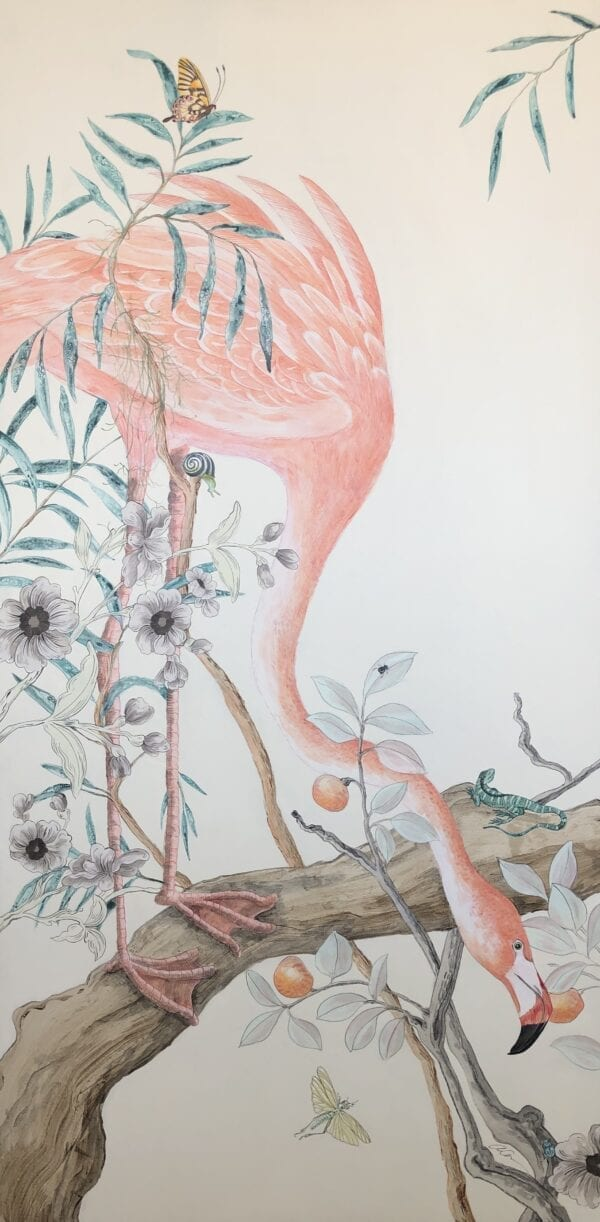 """""""I Pink We're Alone Now"""" Flamingo Painting, Coastal Art by Allison Cosmos"""