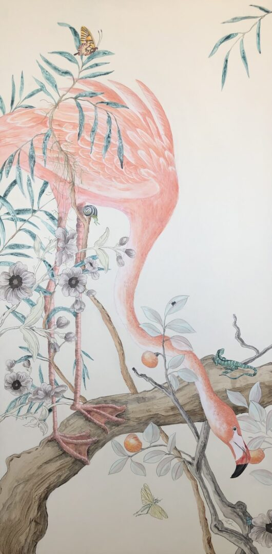 """I Pink We're Alone Now"" Flamingo Painting, Coastal Art by Allison Cosmos"