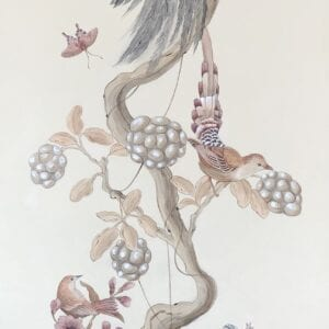 """""""Without-Feather-Ado""""-Chinoiserie-art-bird-painting-by-Allison-Cosmos"""