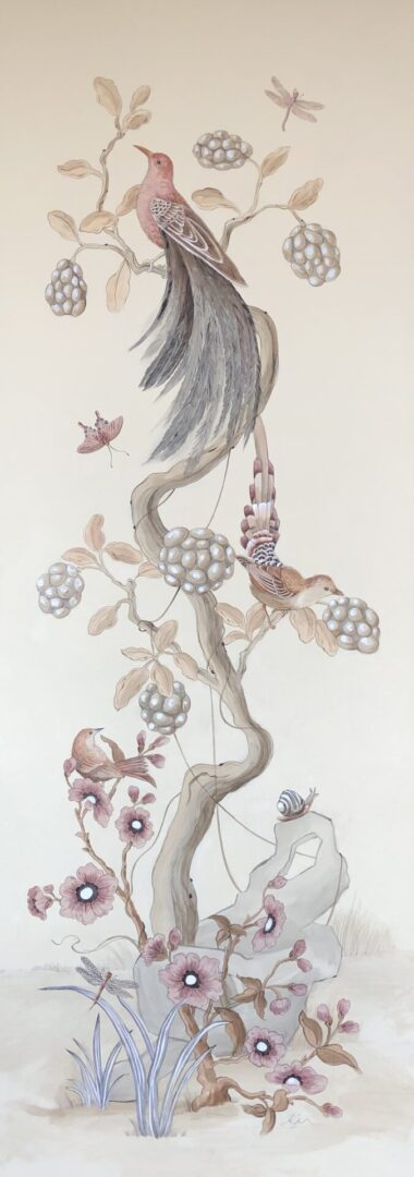 """Without-Feather-Ado""-Chinoiserie-art-bird-painting-by-Allison-Cosmos"