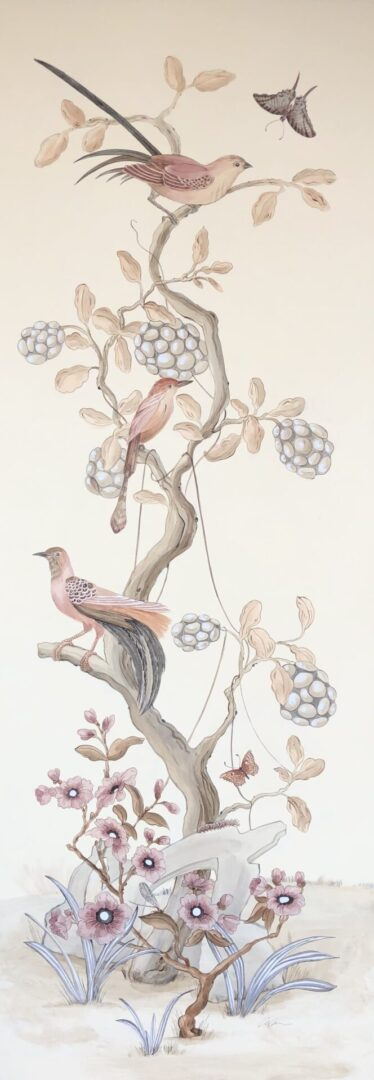 """Take-it-to-the-Nest-Level""-Chinoiserie-art-bird-painting-by-Allison-Cosmos"