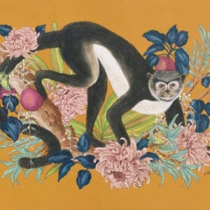 """Monkey Business"" Modern Chinoiserie chic Art, Monkey Painting by Allison Cosmos"