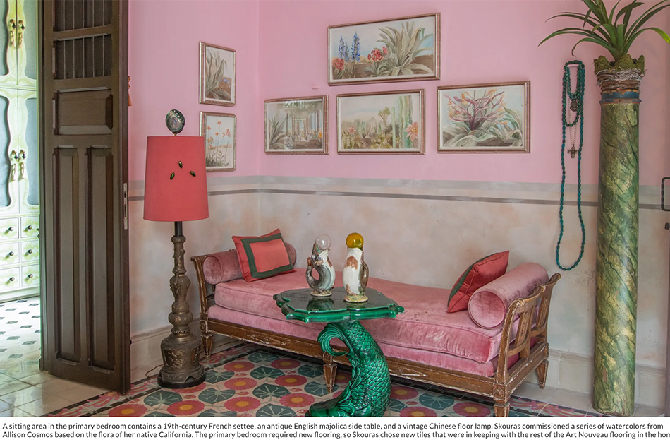 Architectural Digest home of Marjorie Skouras artworks by Allison Cosmos