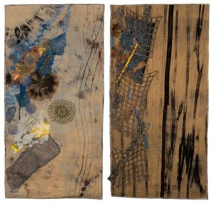 these quilts represent the conditions of a river above and below a dam