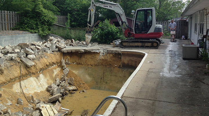 Carroll Bros Contracting Pool destruction and removal