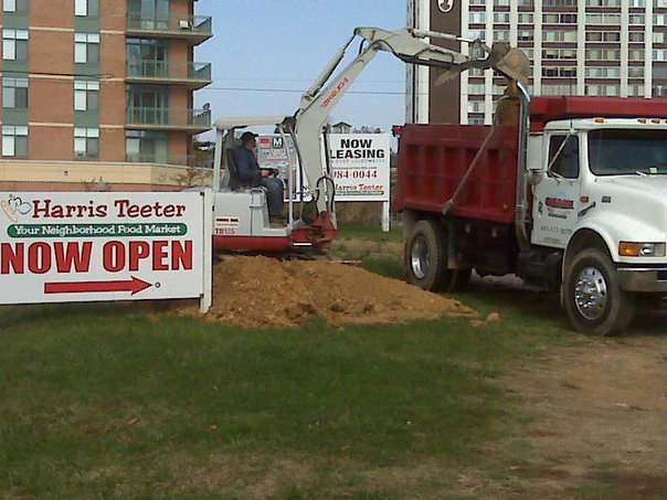 Carroll Bros. Contracting Digging footers for new sign at Harris Teeter - Silver Spring, MD