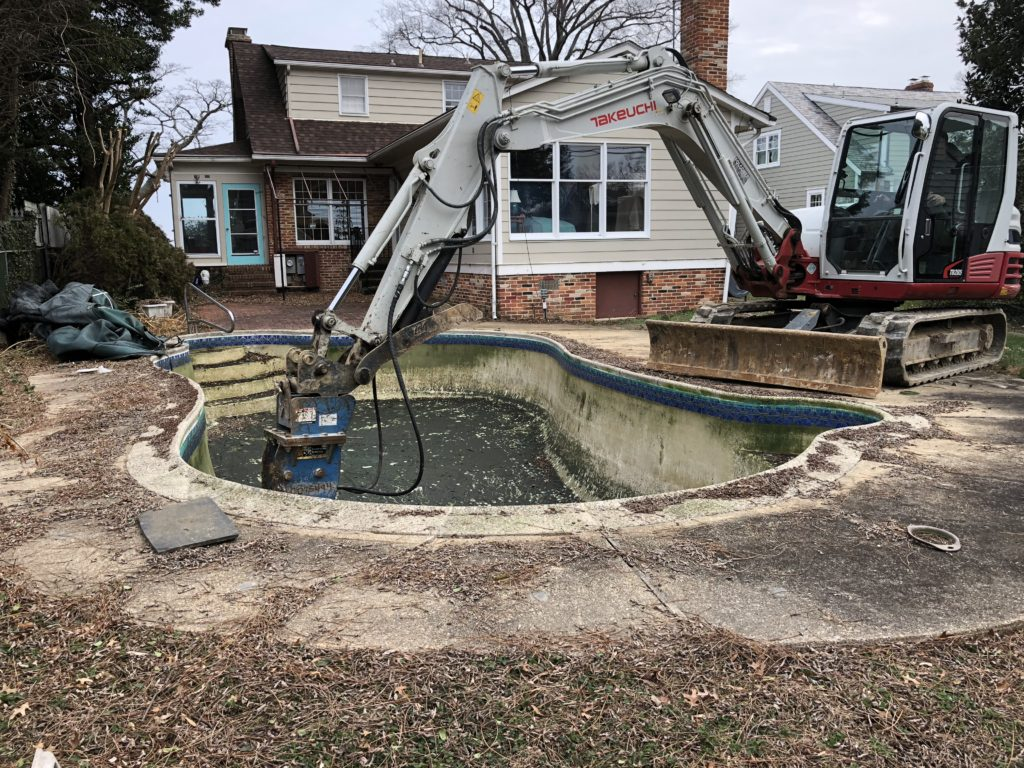 Concrete Pool Removal Annapolis Maryland - Pool was deteriorating and the home owner did not have time for the up keep