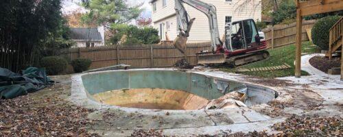 Vinyl Liner Pool Removal in Potomac Maryland