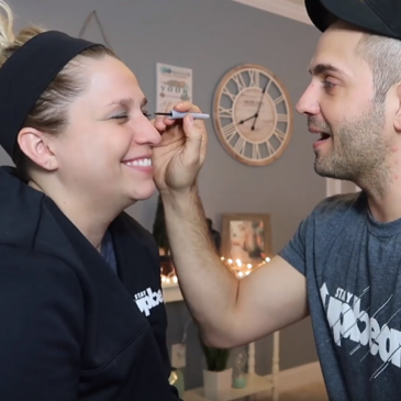 Husband Does Wife's Makeup!