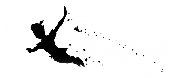 black and white image of peter pan flying into neverland