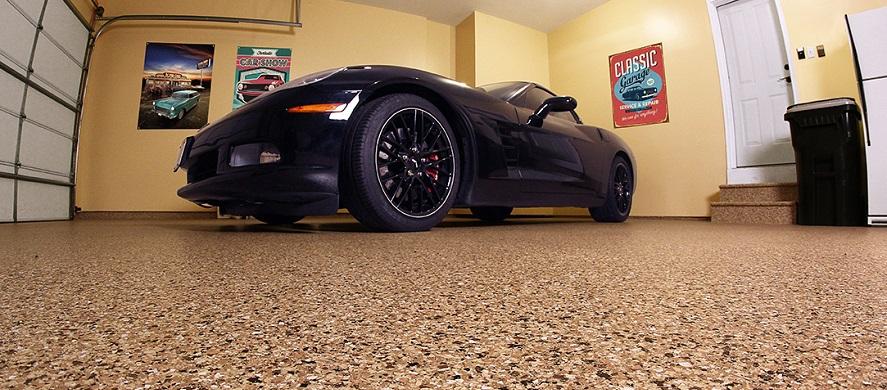 black car on polyurea garage floor coating in los angeles