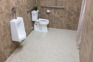 los angeles bathroom coated with concrete floor coating