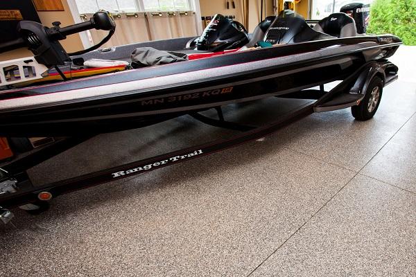 boat on polyurea garage floor coating in los angeles