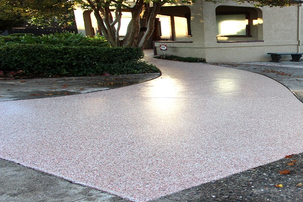 picture of a concrete walkway that has been coated with polyurea