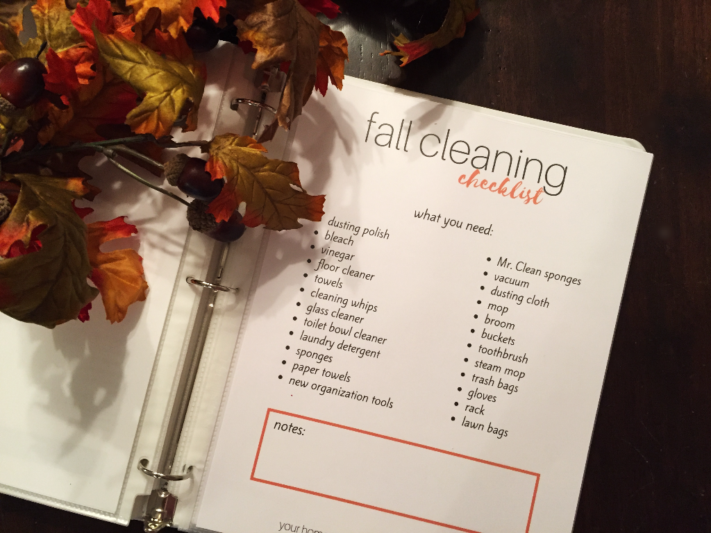 fall cleaning checklist printable - fall checklist for binder - fall cleaning - fall cleaning printable