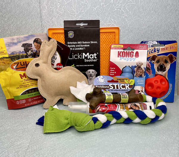 New Puppy Toys and Treats Survival Kit