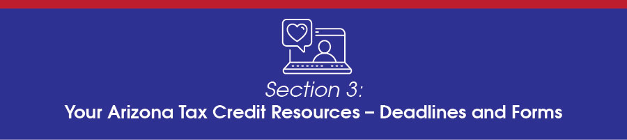 Arizona Tax Credit Resources, Deadlines and Forms